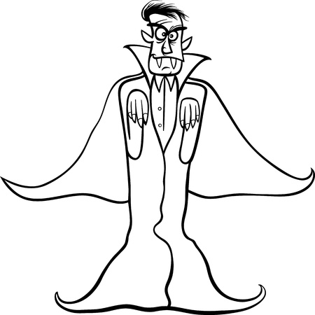 Black and White Cartoon Illustration of Scary Count Dracula Vampire for Coloring Book Vector