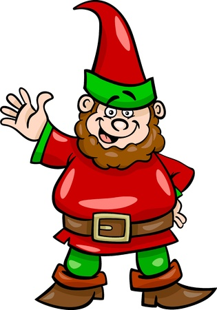 gnome: Cartoon Illustration of Fantasy Gnome or Dwarf Illustration