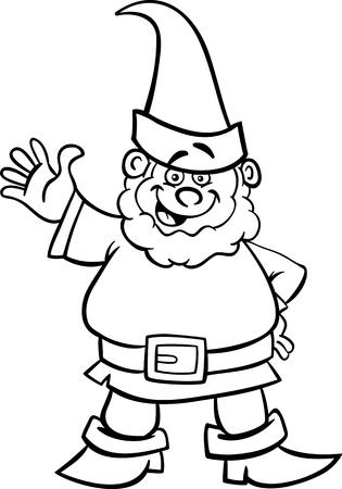 enano: Historieta blanco y negro Ilustración de la fantasía gnomo o enano para Coloring Book