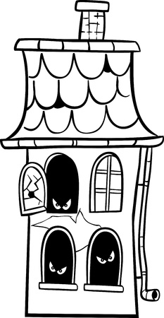 haunted house: Black and White Cartoon Illustration of Scary Halloween Haunted House for Coloring Book Illustration