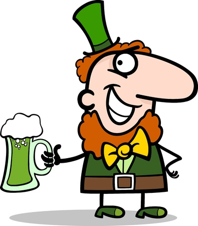 Cartoon Illustration of Happy Leprechaun with Pint of Green Beer on St Patrick Day Holiday Vector