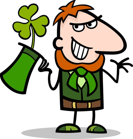 Cartoon Illustration of Happy Leprechaun with Green Clover or Trefoil in his Hat on St Patricks Day Holiday Vector