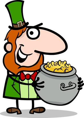 bowler hats: Cartoon Illustration of Happy Leprechaun with Pot of Gold on St Patrick Day Holiday