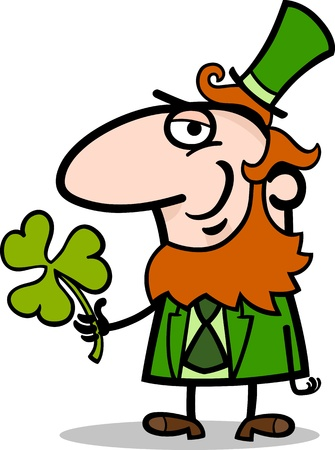 sneer: Cartoon Illustration of Happy Leprechaun with Green Clover or Trefoil on St Patrick Day Holiday Illustration