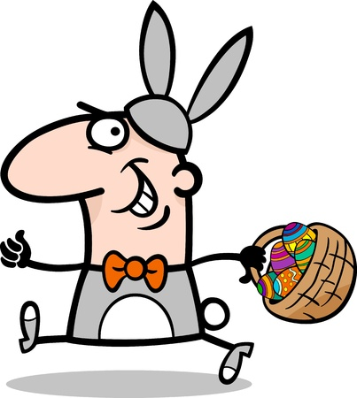 Cartoon Illustration of Funny Man in Easter Bunny Costume running with Easter Eggs in a Basket Vector