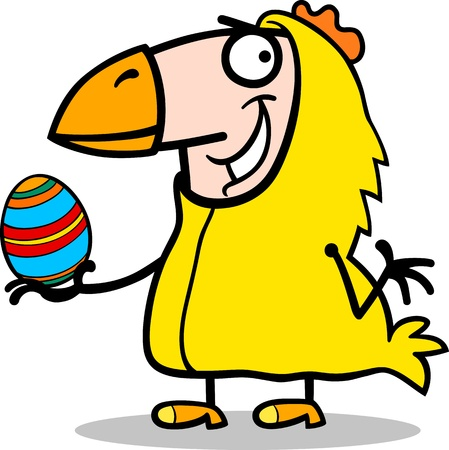 Cartoon Illustration of Funny Man in Easter Chicken Costume with Easter Egg Stock Vector - 18109467