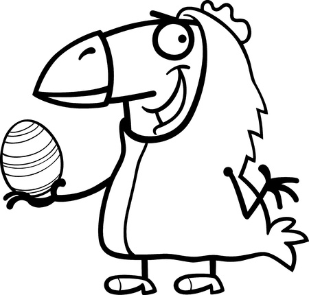 Black and White Cartoon Illustration of Funny Man in Easter Chicken Costume with Easter Egg for Coloring Book Vector