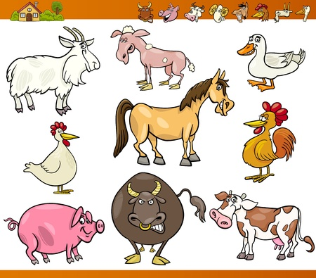 sheep farm: Cartoon Illustration Set of Comic Farm and Livestock Animals isolated on White