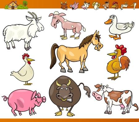 animales de granja: Ilustraci�n de dibujos animados Conjunto de Granja Comic y ganado aislado en blanco