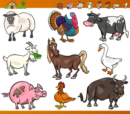 Cartoon Illustration Set of Happy Farm and Livestock Animals isolated on White Vector