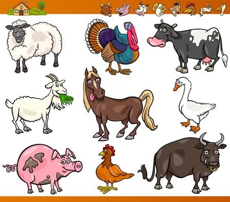 animales granja: Ilustración de dibujos animados Happy Farm Juego de Animales y Ganadería aislado en blanco