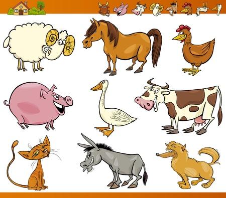 melker: Cartoon Illustratie Set van vrolijke boerderij en vee op wit wordt geïsoleerd Stock Illustratie