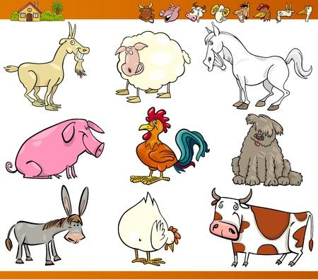 cerdo caricatura: Ilustración de dibujos animados Conjunto de Granja Comic y ganado aislado en blanco