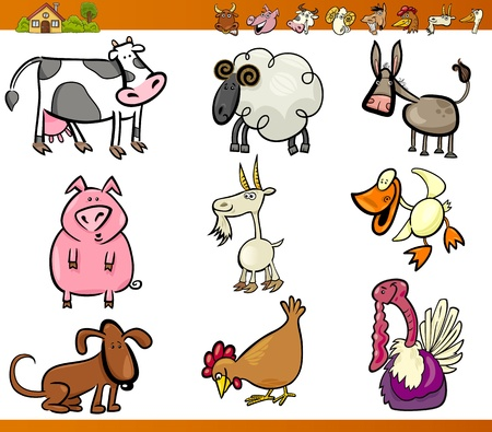 Cartoon Illustration Set of Funny Farm and Livestock Animals isolated on White Vector