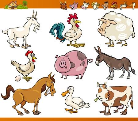 melker: Cartoon Illustratie Set van vrolijke boerderij en vee op wit wordt geïsoleerd