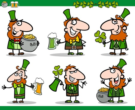 Cartoon Illustration of Happy Men in Green Costume or Leprechaun and Saint Patrick Day Themes with Clover, Beer and Pot of Gold Vector