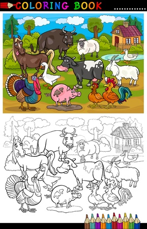 coloring book page: Coloring Book or Coloring Page Cartoon Illustration of Funny Farm and Livestock Animals for Children Education