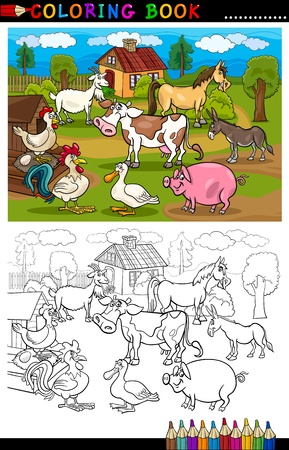 animales de granja: Libro para colorear o P�gina para colorear Ilustraci�n de la historieta de Funny Farm y ganado para la Educaci�n Infantil