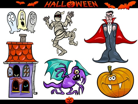 Cartoon Illustration of Halloween Holiday Themes, Vampire or Count Dracula, Mummy, Haunted House, Basilisk or Monster, Pumpkin and Ghosts Vector