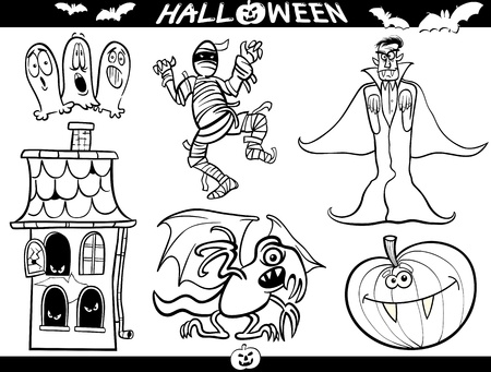 Cartoon Illustration of Halloween Themes, Vampire or Count Dracula, Mummy, Haunted House, Basilisk or Monster, Pumpkin and Ghosts Set for Coloring Book or Page Vector