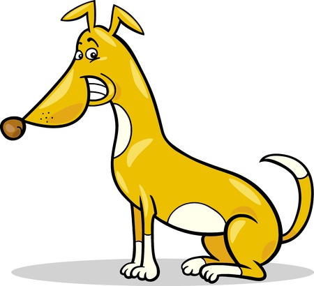 sit stay: Cartoon Illustration of Funny Sitting Spotted Dog