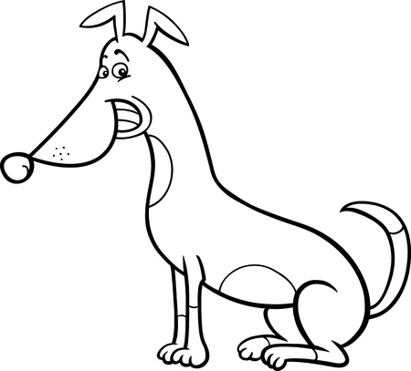 sit stay: Black and White Cartoon Illustration of Funny Sitting Spotted Dog for Coloring Book Illustration