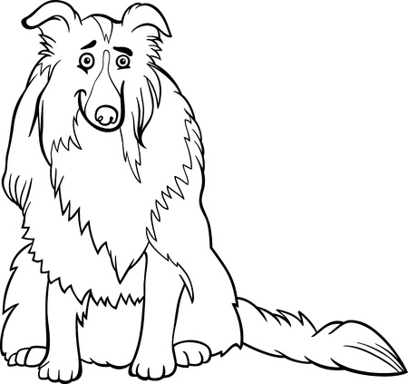 collie: Black and White Cartoon Illustration of Funny Collie Purebred Dog for Coloring Book Illustration