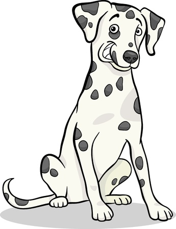 spotted dog: Cartoon Illustration of Cute Dalmatian Purebred Dog