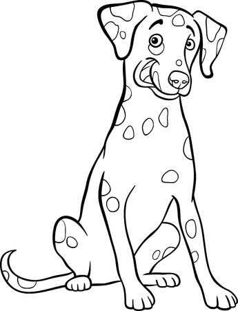 dalmatian puppy: Black and White Cartoon Illustration of Cute Dalmatian Purebred Dog for Coloring Book