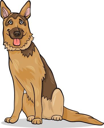 german shepherd puppy: Cartoon Illustration of Funny German Shepherd Purebred Dog