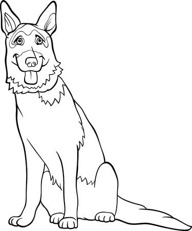 pastorcillo: Historieta blanco y negro Ilustración de la divertida del perro de pastor alemán de pura raza para Coloring Book
