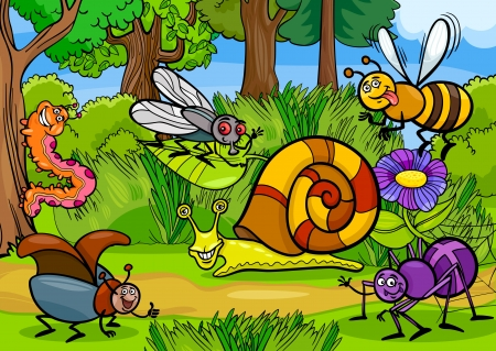 Ilustraci�n de dibujos animados de insectos divertidos o errores en el Meadow Natural Scene Background Rural