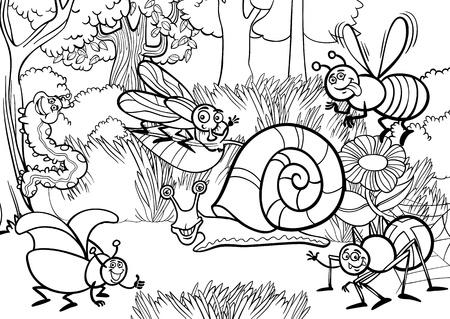 dibujos para colorear: Historieta blanco y negro Ilustración de los insectos o bichos divertidos sobre el Meadow Natural Escena Fondo Rural para Coloring Book Vectores