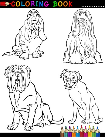 Coloring Book Black and White Cartoon Illustration of Cute Purebred Dogs Vector