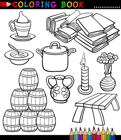 household objects: Coloring Book Black and White Cartoon Illustration of Different Objects