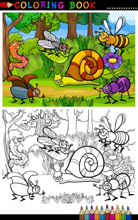 Coloring Book or Coloring Page Cartoon Illustration of Funny Insects or Bugs on the Meadow for Children Education Vector