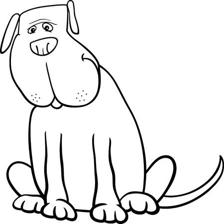 Black and White Cartoon Illustration of Funny Big Sitting Dog for Coloring Book Stock Vector - 18601782
