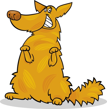 dog breeds: Cartoon Illustration of Funny Yellow Standing Shaggy Dog