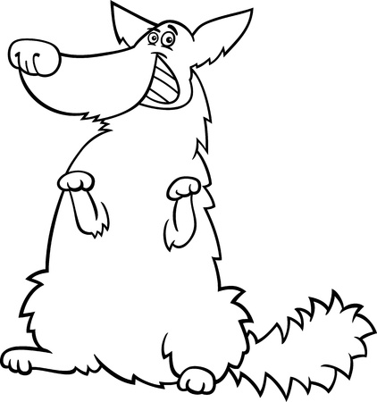 shaggy: Black and White Cartoon Illustration of Funny Standing Shaggy Dog for Coloring Book