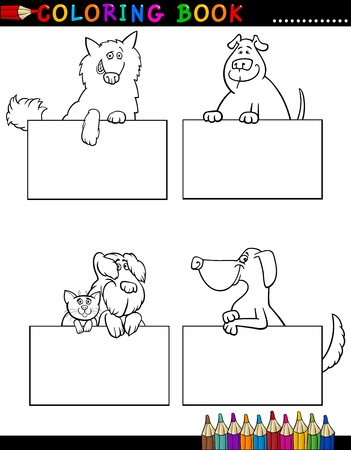 Coloring Book or Coloring Page Black and White Cartoon Illustration of Funny Purebred or Mongrel Dogs with Boards or Cards Vector
