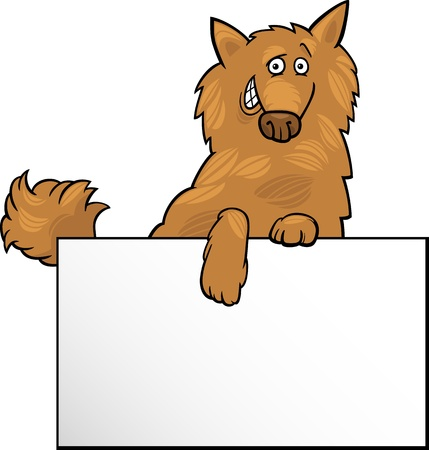 shaggy: Cartoon Illustration of Funny Shaggy Dog with White Card or Board Greeting or Business Card Design Illustration