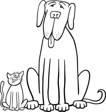 dane: Black and White Cartoon Illustration of Cute Small Cat and Funny Big Dog or Great Dane in Friendship for Coloring Book Illustration