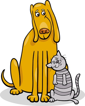 Cartoon Illustration of Funny Dog and Cute Tabby Cat in Friendship Vector