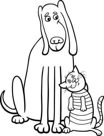 Black and White Cartoon Illustration of Funny Dog and Cute Tabby Cat in Friendship for Coloring Book Vector