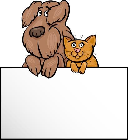 perros graciosos: Ilustraci�n de dibujos animados lindo perro lanudo y el Gato con la tarjeta blanca o la Junta de felicitaci�n o de dise�o de tarjetas de negocios