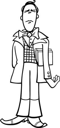 a poet: Ilustraci�n de dibujos animados en blanco y negro de Poeta Funny or hombre exc�ntrico Caricatura