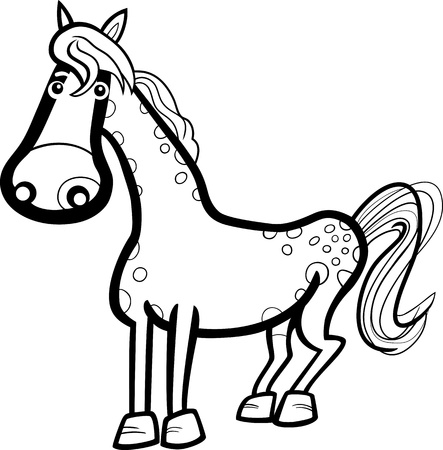 black and white farm: Black and White Cartoon Illustration of Cute Horse Farm Animal for Coloring Book Illustration
