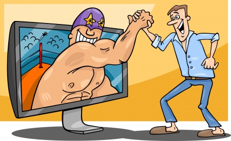 playing video game: Cartoon Illustration of Funny Man with Wrestler for tv or Watching Interactive Digital Television or Playing Video Game