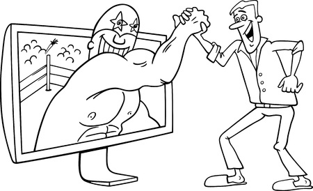 playing video game: Black and White Cartoon Illustration of Funny Man with Wrestler for tv or Watching Interactive Digital Television or Playing Video Game