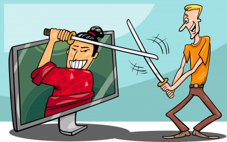 Cartoon Illustration of Funny Man Fighting with Samurai or Watching Interactive Digital Television or Playing Video Game Vector